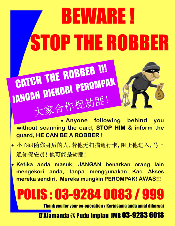 Stop Safety Card http://dalamandacondo.com/stop-the-robber-safety-campaign/