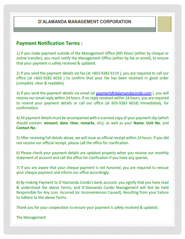 Payment Notification Terms