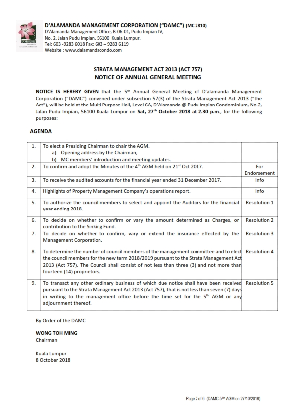 5th AGM Notice (Saturday, 27th October 2018) [Page 2]