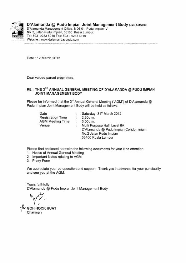 3rd AGM of D'Alamanda Pudu Impian JMB