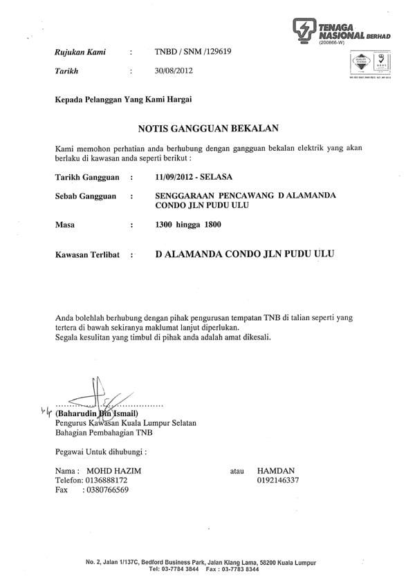 Notice - TNB Power Shutdown on 11 Sept 2012