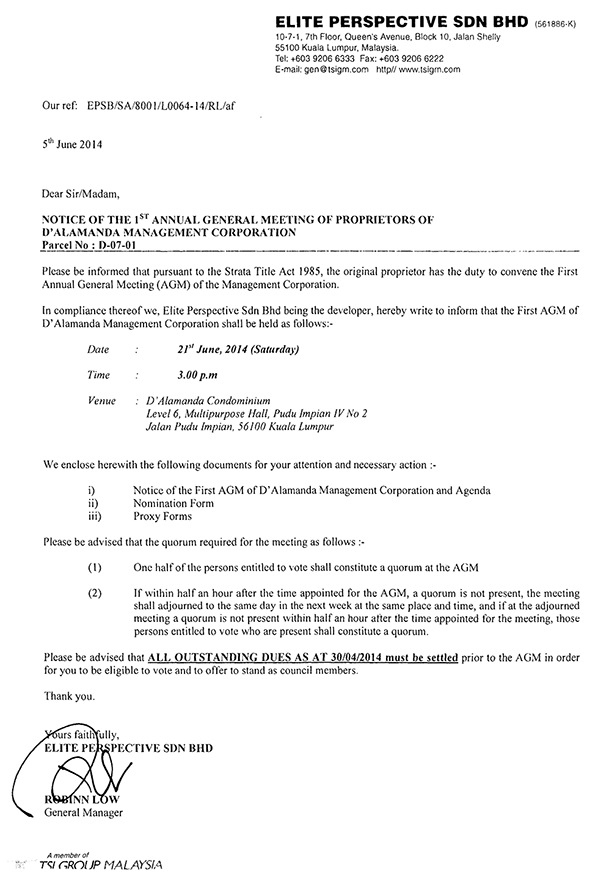 Developer's 1st AGM of the MC (Page 1)