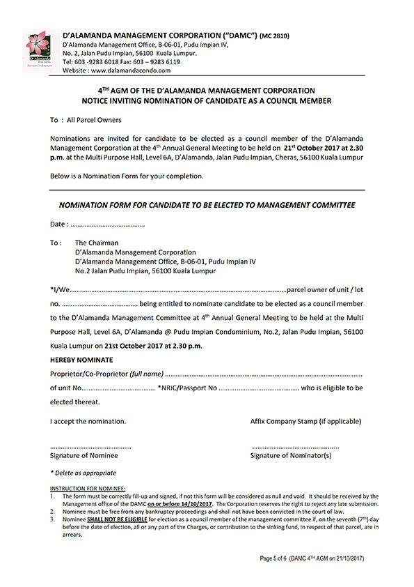 4th AGM Notice (21 October 2017)  [Page 5]