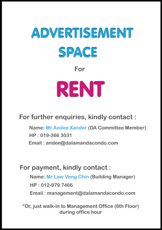 Notice Board - Advertisement Space For Rent