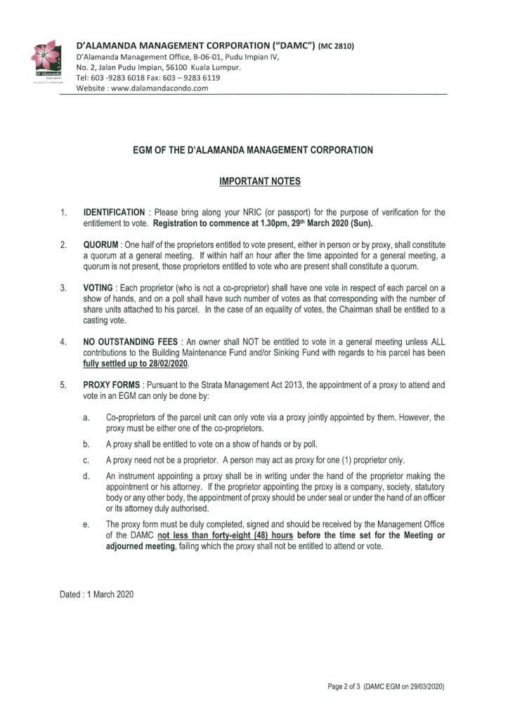DA Condo - EGM - Notice