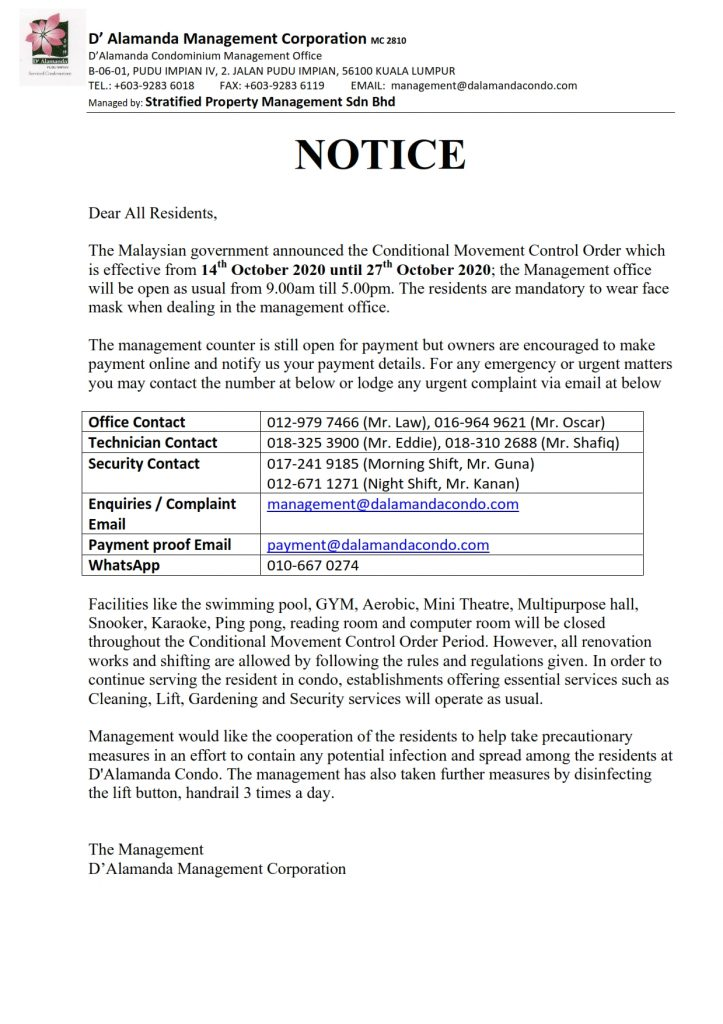 Notice - Office Operation Hour for 14/10/2020 - 27/10/2020