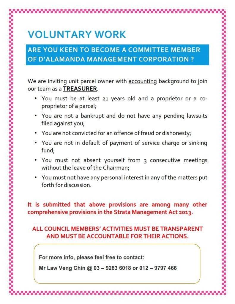 Notice - Volunteer Work as Treasurer